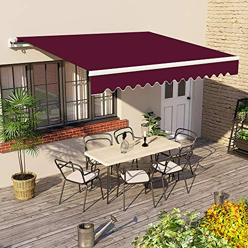 Greenbay 3 m x 2.5m DIY Patio Retractable Manual Awning Garden Sun Shade Canopy Wine Red with...