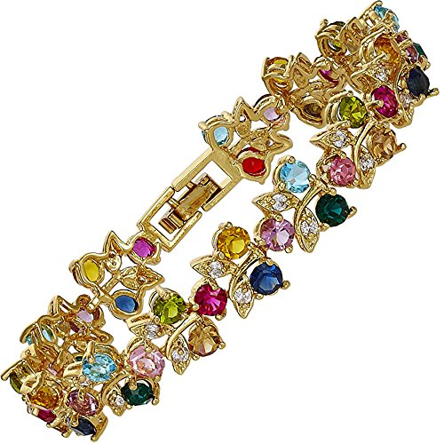 Rizilia Tennis Bracelet [18cm/7inch] with Round Cut Gemstones CZ [Multi Coloured] in 18K Yellow Gold Plated, Simple Modern Elegance