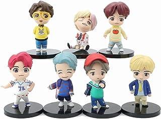 YUY 7-teiliges BTS Mini Idole Puppenset Mit Jungkook V Jimin SUGA JIN J-Hoffnung RM Luxusfigur Souvenirhandwerksspielzeug Zum Verschenken.
