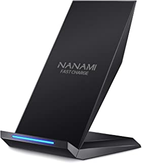 Fast Wireless Charger, NANAMI Qi Certified Charger Wireless Charging Stand Compatible iPhone 11/11 Pro/11 Pro Max/XS/XS Max/XR/X/8/8 Plus,Samsung Galaxy S10+ S9 S8 S7 Note 10/9/8 and Qi-Enabled Phone