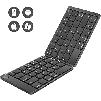 Foldable Keyboard, Number-one Folding Bluetooth Keyboard Ultra Slim Portable Rechargeable Wireless Keyboard Compatible with iOS, Android and Windows Tablets Smartphones Devices - Black