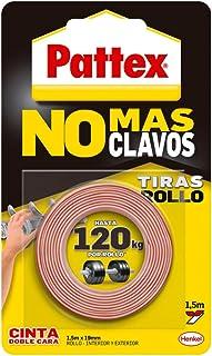 Pattex No Más Clavos Cinta, cinta adhesiva para aplicaciones permanentes, cinta de doble cara extrafuerte, adhesivo de montaje para interior y exterior, 19 mm x 1,5 m