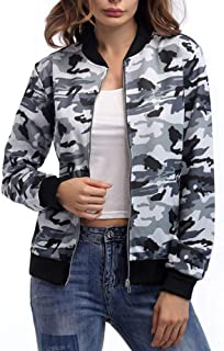 SheKiss Casual Camo Zipper Denim Jackets for Women Military Canvas Coat with Pockets