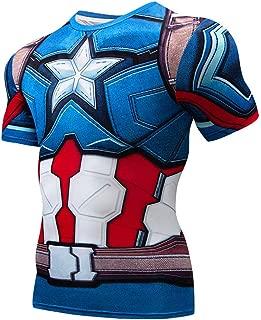 Quick Cool Dry Fit T-Shirt 3D Print Marvel Superhero Men's Compression Short Sleeve Sport Baselayer Blue