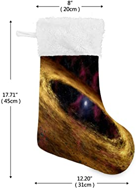 N\O Sci Fi Planetary Christmas Stockings Large Candy Stockings Stuffers Kids Faux Fur Cuff Xmas Stocking for Family Holiday H