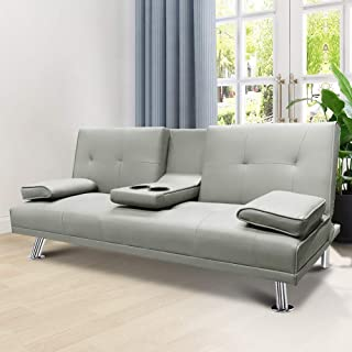 LTTROMAT Modern Faux Leather Futon Sofa Bed, Convertible...