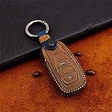 HUAQIANYU Funda de piel para llave de coche, para Subaru Legacy XV Forester Outback BRZ SIT accesorios para llave de auto remoto funda protectora marrón