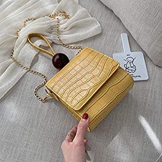 Adebie - Casual Small Alligator Women Handbags Lady Acrylic Beading Purse Bags for Women PU Leather Flap Retro Bolsa Feminina Chic Totes Yellow []