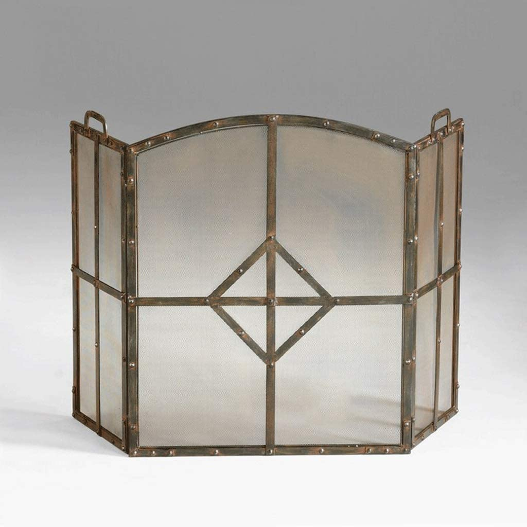 OMING Fireplace Screens 3-Panel Max 83% OFF Freestan Red Copper-Tone Vintage Baltimore Mall