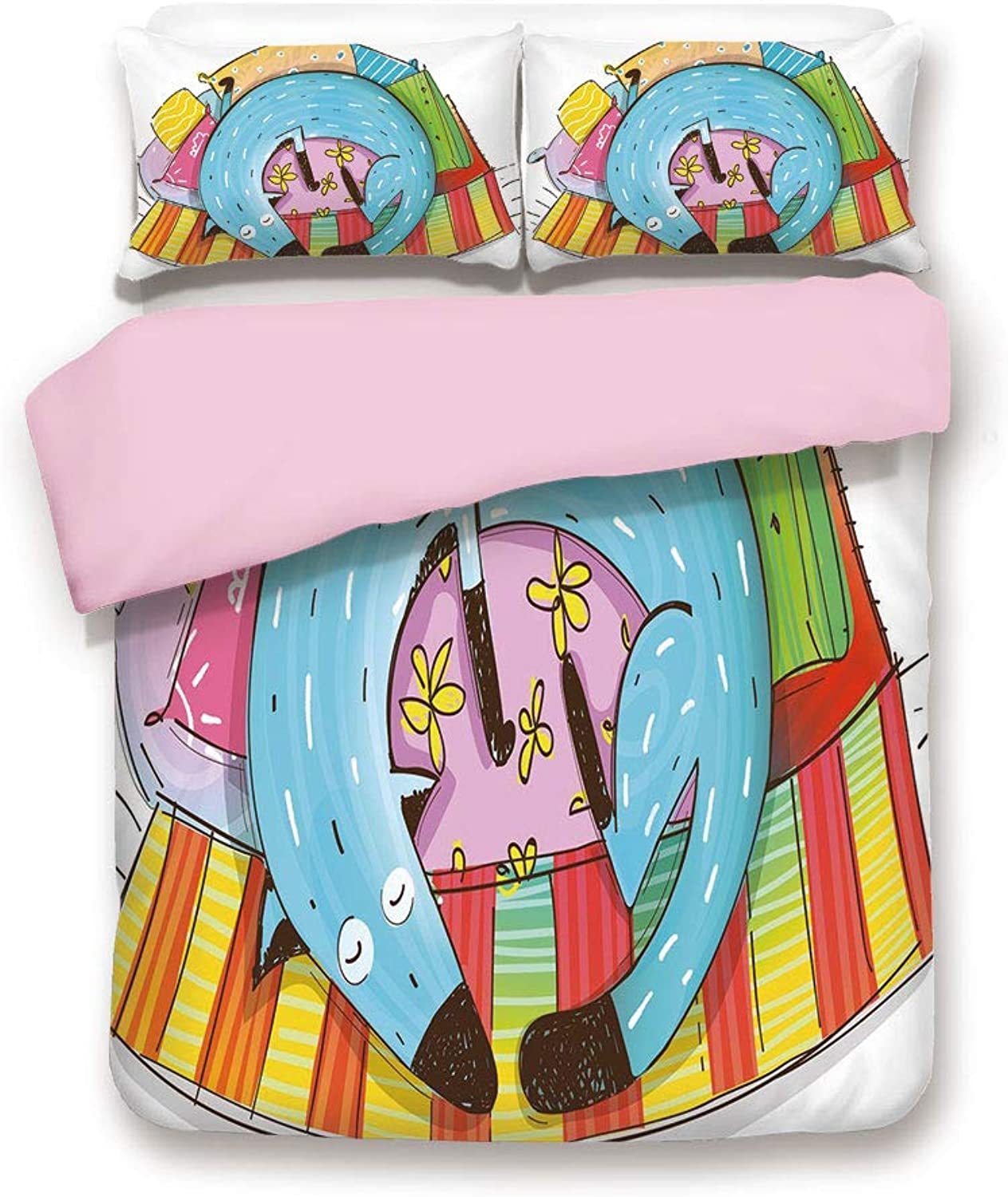 Pink Duvet Cover Set,Queen Size,Cute Dog Sleeping on colorful Pillows Funny Domestic Pet Animal Caricature Decorative,Decorative 3 Piece Bedding Set with 2 Pillow Sham,Best Gift For Girls Women,Multic