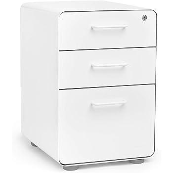 Poppin White Stow 3-Drawer File Cabinet, Modern Design, Metal, Legal/Letter, Locking