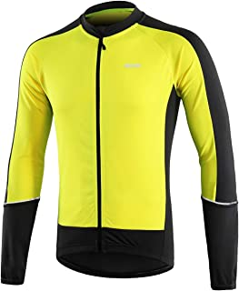ARSUXEO Men's Basic Cycling Jersey Long Sleeves MTB Bike Bicycle Shirt 6033