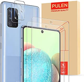 [4-Pack] PULEN for Samsung Galaxy A71 5G Screen Protector 2-Pack with 2 Pack Camera Lens Protector,HD Clear Scratch Resist...