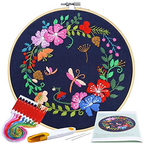 Pllieay Kit de inicio de bordado de gama completa con patrón e instrucciones incluyendo paño de bordado con patrón de jardín botánico, aro de bordado de bambú de 20 cm, hilos de color y herramientas