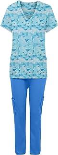 YOYHX Women's Medical Uniform Working Sets V Neck Top Pants Stretch Medical Working Sets