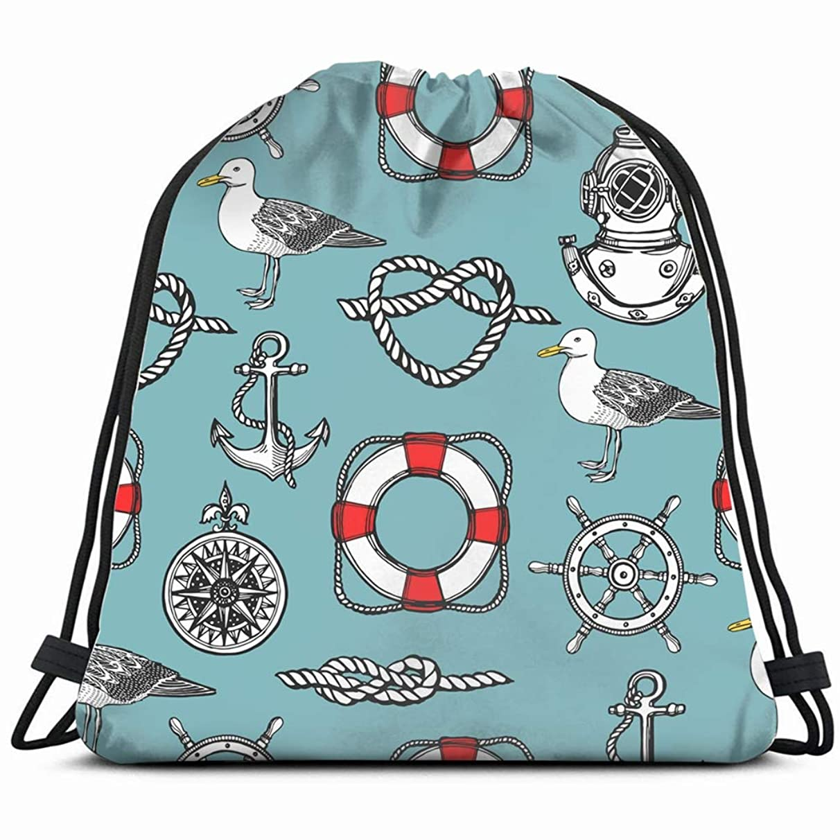 hand drawn vintage nautical Drawstring Backpack Gym Sack Lightweight Bag Water Resistant Gym Backpack for Women&Men for Sports,Travelling,Hiking,Camping,Shopping Yoga