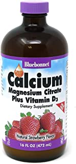 Bluebonnet Nutrition Liquid Calcium Citrate Calcium Citrate, Magnesium Citrate, Vitamin D3, Bone Health, Gluten Free, Soy ...