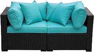 Outdoor PE Wicker Chairs-2 Piece Patio Black Rattan Garden Conversation Corner Chair End Seat Furniture Set Turquoise Cushion