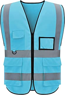 Safety Vests Reflective Strips with Pockets and Zipper Class 2 High Visibility for Men and Women