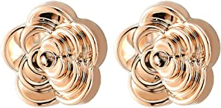 Unique Womens Magnetic Rose Gold Camellia Flower Stud Earring, Non-Piercing Clip On Fake Ear