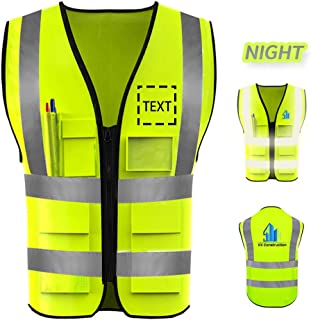 High Visibility Safety Vest Custom Logo Protective Workwear With Reflective Strips Outdoor Work Vest Plus Size 90-300 lbs (XL, Neon Yellow)