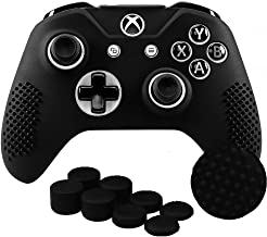 SKINOWN Xbox One Controller Skin Grip Silicone Case Anti-Slip Protective Grip Cover for Xbox One S & One X Controller with 8 Thumb Grips(Black)