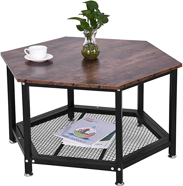 Hexagonal Coffee Table Industrial Side Table Fulijie Nightstand Stable Metal Frame And Mesh Shelf For Living Room Bedroom Wood Look Accent Furniture Ship From US 29 5 29 5 18 Inches Brown