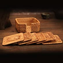 yazi Hand-woven Rattan Coasters With Multipurpose Coaster Holder Exotic Handmade Teacup coasters 3 Set of 7 Square