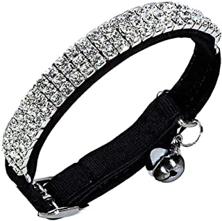 Adjustable Cat Collar Small Dog Collar with Bell Rhinestone Soft Velvet Pet Cat or Small Dog Necklace Black