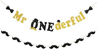 Glittery Mr Onederful Banner and Black Glittery Moustache Garland,1st Birthday Party Decorations,Baby Boy's First Birthday Banner,Little Man Party Decor