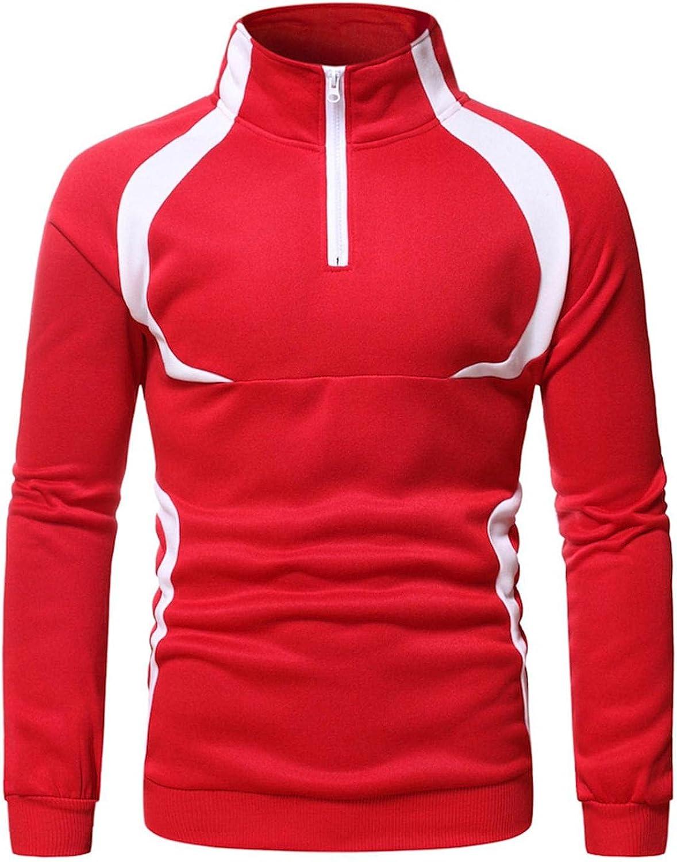 Hoodies for Mens 1/4 Zip Pullover Mens Casual Pullover Long-sleeve Mens's Turtleneck Color Block Mens Hoodies & Sweatshirt