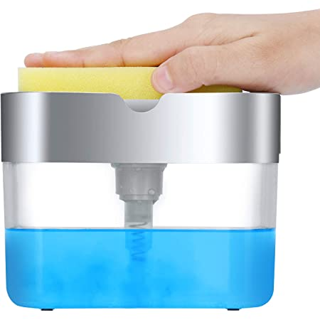 Dish Soap Dispenser for Kitchen, Innovative Soap Dispenser and Sponge Holder 2 in1, Countertop Soap Pump Dispenser Caddy
