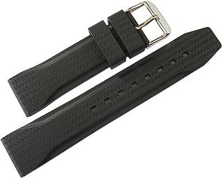 Bonetto Cinturini 22mm Black Rubber Watch Strap Model 324