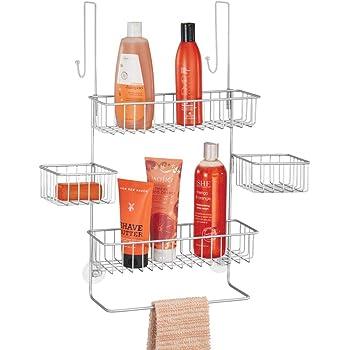 mDesign Estanterías de baño para colgar – Práctico colgador de ducha sin taladro – Estantes para baño de metal con 4 cestas metálicas, 2 ganchos y 1 barra para manopla de baño – plateado: Amazon.es: Hogar