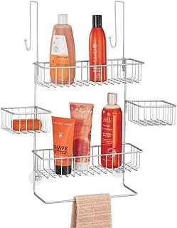 mDesign Estanterías de baño para colgar – Práctico colgador de ducha sin taladro – Estantes para baño de metal con 4 cestas metálicas, 2 ganchos y 1 barra para manopla de baño – plateado