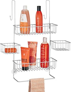mDesign Extra Wide Metal Wire Over Door Bathroom Tub & Shower Caddy, Hanging Storage Organizer Center with Built-in Towel Holders and Baskets on 3 Levels - Center Baskets Swivel - Chrome