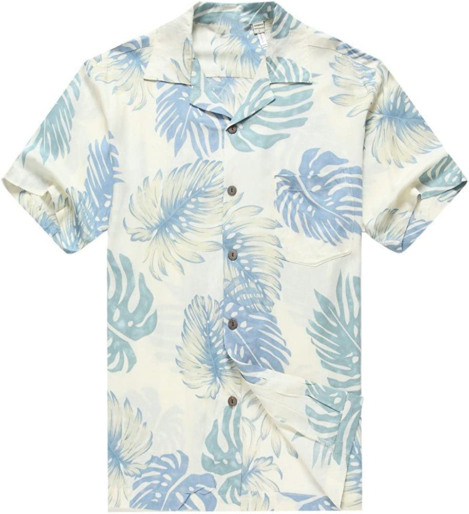 Hawaii Hangover Men's Hawaiian Shirt Aloha Shirt Palm Leaves in White