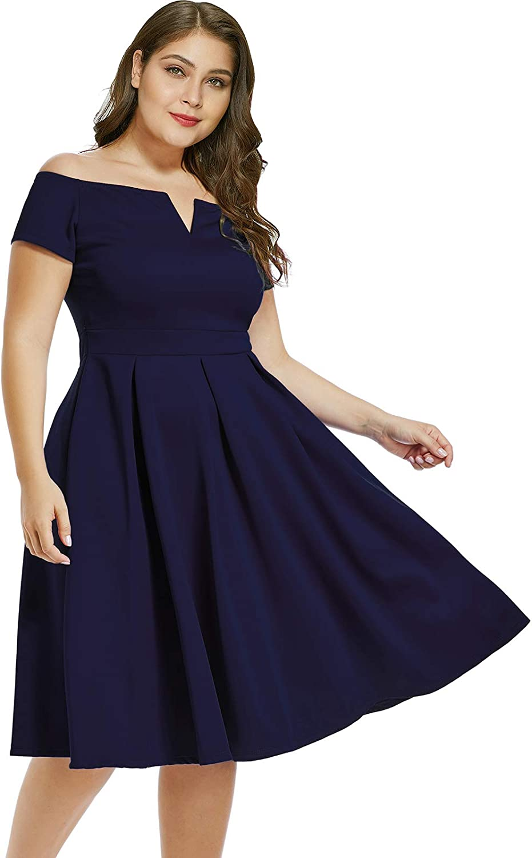 LALAGEN Women's Plus Size Vintage 1950s Party Cocktail Wedding Swing Midi Dress