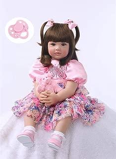 24 Inch 60cm Reborn Toddler Dolls Soft Silicone Vinyl Handmade Similar Realistic Fashion Newborn Doll Child Toy for Birthday Xmas Gift Crafted Pink Clothes