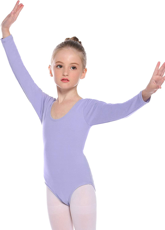 Hawiton Kids Girl Cotton Leotard Gymnastics Camisole Gym Dress Apparel Dancewear Long Sleeve for Dance Ballet