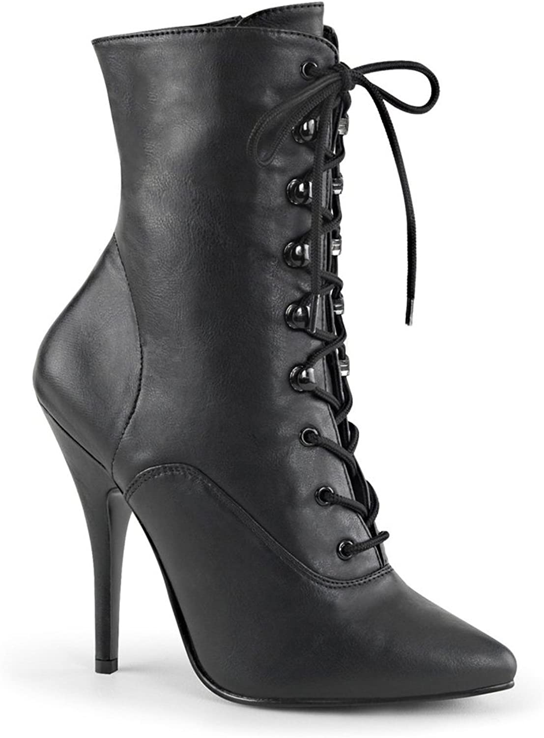 Pleaser 5  Lace-Up Ankle Boot, Side Zip Womens Boots