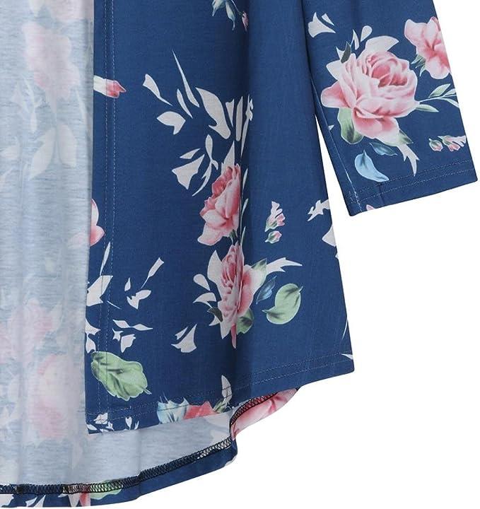 DEELIN Chaqueta De Manga Larga De Flores para Mujer De Verano De Las Mujeres Abrigo De Kimono Frontal Abierto De La Chaqueta De Punto