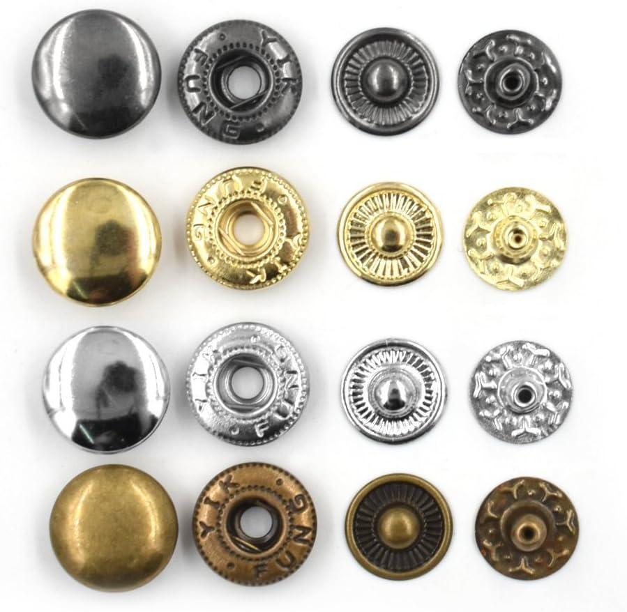 Sewing Leathercraft Studs S Spring Popper Snap Fasteners Gun Metal Press Studs Size 12.5mm