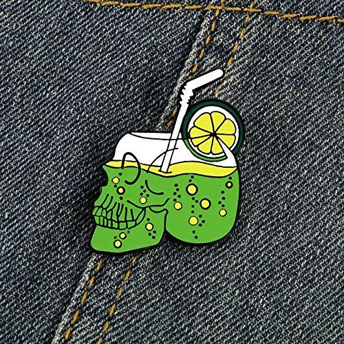 ZSCZQ Cartoon Skeleton Water Cup Enamel Pins Skull Drink Lemon Juice Brooches Creative Jewelry Beach Holiday Halloween Denim Badge Pin Skull