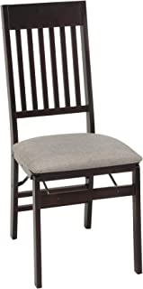 COSCO Mission Back Fabric Seat, Espresso, 2 Pack Folding Chair,
