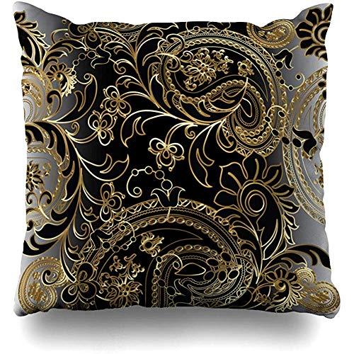 Throw Pillow Case 45x45 cm Flora Oriental Textured Paisleys Plants Floral Royal Elegant Vintage Textures Flower Rich Cushion Cover