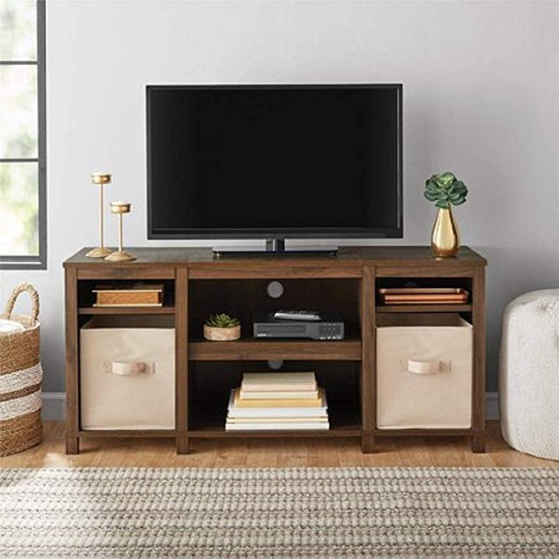 Mainstay Parsons Cubby TV Stand Holds Up To 50 TV Black Oak Walnut TV Stand ONLY