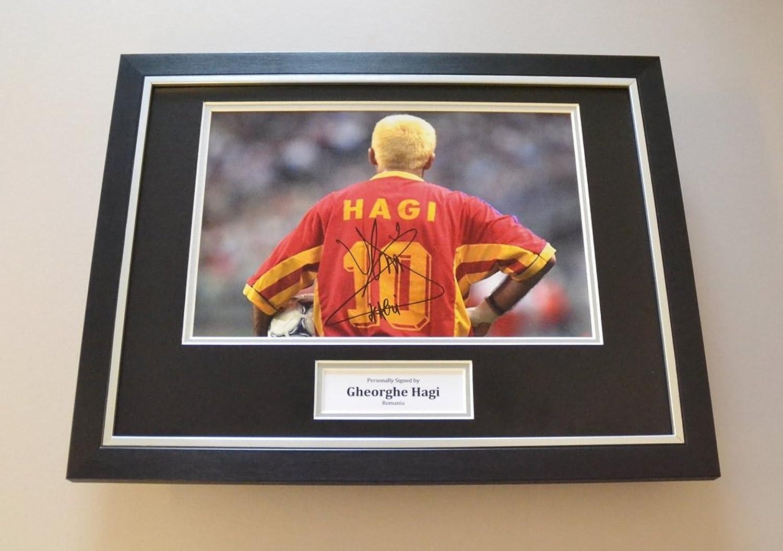 Gheorghe Hagi Signed Framed 16x12 Photo Autograph Romania Memorabilia Display