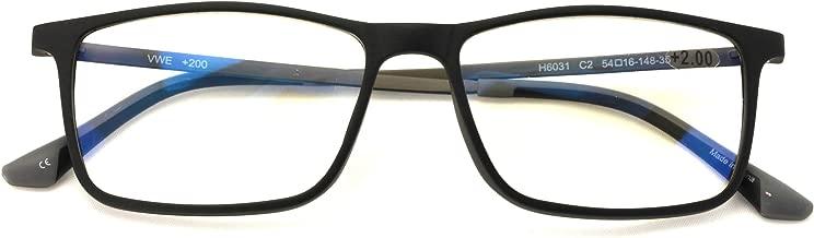 TR90 /w Flexible Titanium B Rectangle Reading Glasses - AR Anti-Reflective Coating - Computer