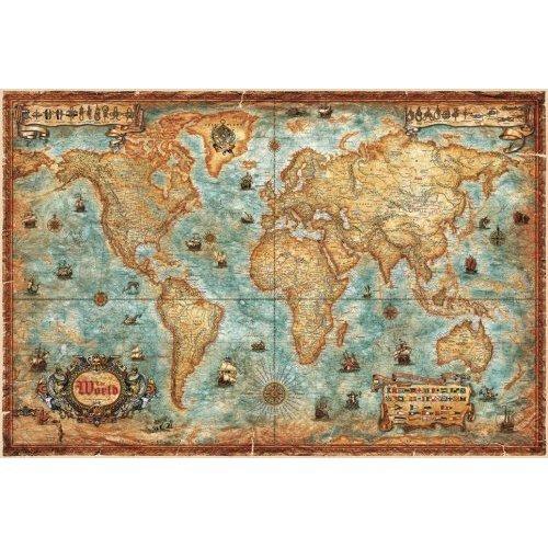 Modern World Antique Map 136x92 papier Wandkarte / Planokarte - Vintage-Karten mit Bildern von Schiffen, Knoten usw.